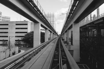 Miami metrorail tracks in black and white