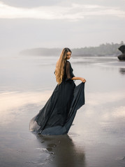 Elegant woman on beach