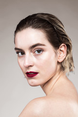 Young model with red lips