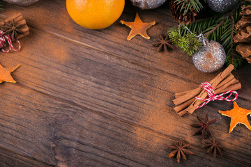 Fresh Tangerines with spices and Christmas decor