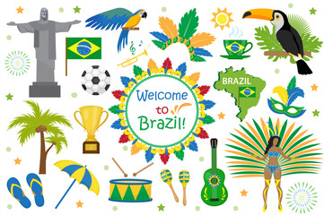 Brazilian carnival icons flat style. Brazil country travel tourism. Collection of design elements, culture symbols with toucan, parrot, rio de jeneiro monument, carnival costume. Vector illustration Wall mural