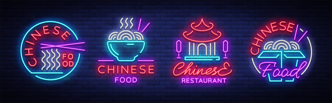 Chinese food set of logos. Collection neon sign, billboard, bright night light, luminous banner. Bright neon advertising for Chinese restaurant, dining room, bar. Asian cuisine. Vector illustration