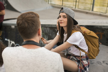 Young people at the skate park.