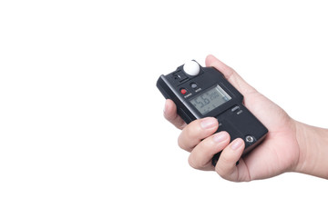 Hand holding light exposure meter, a photograph device for measuring illumination