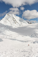 Idillyc mountain peak covered by snow in Cordillera Blanca, Peru