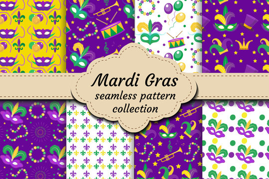 Mardi Gras Carnival set of seamless pattern with mask feathers, beads. Collection Fat Tuesday endless background, texture, wallpaper. Festival backdrop. Vector illustration