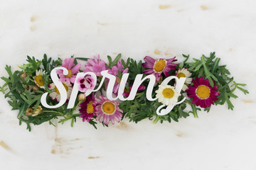 "Flower Decoration with word spring on top of it""""lower Decoration wit""""""lower Decoration with word spring"" o""""ow"""