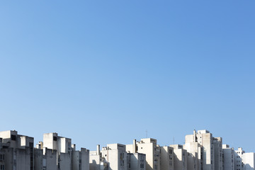 Tall buildings lit by the morning sun in the city of Split in Croata