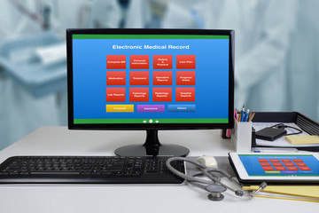 Wall Mural - EMR or electronic medical record showing on computer monitor.