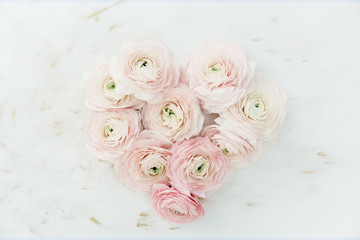Ranunculus arranged in heart shape