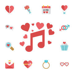 Valentines musical note icon. Digital vector february happy valentine's day and wedding celebration color simple flat icon set