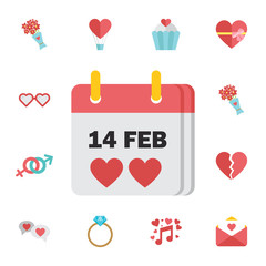 Valentine's Day flat calendar icon february. Digital vector february happy valentine's day and wedding celebration color simple flat icon set