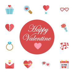 Happy Valentines day cards with ornaments, hearts, frame. typography vector. Digital vector february happy valentine's day and wedding celebration color simple flat icon set