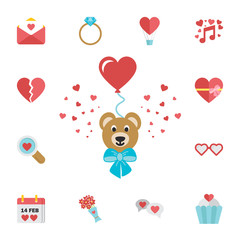 Valentines Teddy Bear holding love heart baloon. Digital vector february happy valentine's day and wedding celebration color simple flat icon set