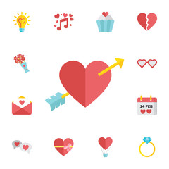 Amour Symbol with Heart and Arrow Icon. Digital vector february happy valentine's day and wedding celebration color simple flat icon set