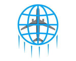 airplane airways airline airport circle globe image vector icon