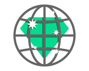 emerald crystal gems diamond earth circle globe image vector icon