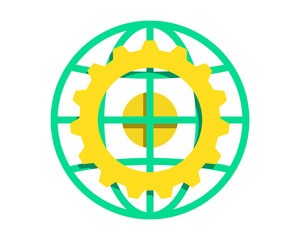 yellow gear circle globe image vector icon logo