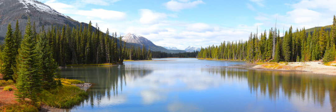 Panoramic view of Porcupine creek in Banff national park