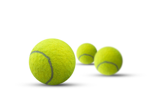 Three tennis ball isolated on white background