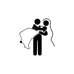 the bridegroom bears the bride in her arms icon. Lovers icon. Wedding element icon. Premium quality graphic design. Signs, symbols collection icon for websites, web design, mobile, info graphics