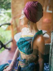 Sensual woman in oriental garment