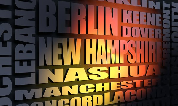 Image relative to USA travel. New Hampshire cities and places names cloud. 3D rendering