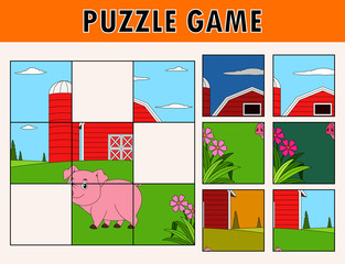 Cartoon illustration of educational jigsaw puzzle for children with cute pig farm animal