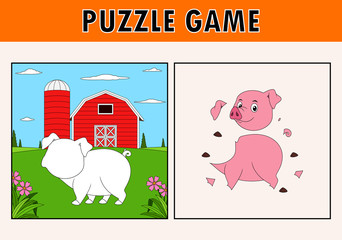 Jigsaw puzzle game with cute pig animal