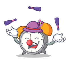 Juggling alarm clock mascot cartoon