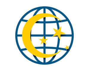 star crescent moon circle globe image vector icon logo