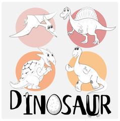 Four types of dinosaurs on round badge