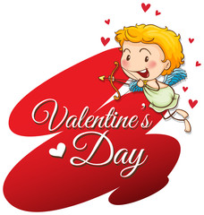 Velentine card template with cute cupid