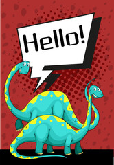 Poster design with dinosaur saying hello