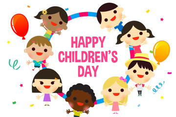 Happy Children's day greeting card vector illustration, Kids with confetti and balloons