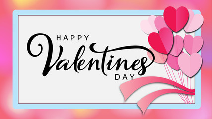 Happy Valentine's day calligraphic Inscription decorated with red heart background. vector illustration. brochure, flyer, wallpaper, invitation card, poster, banner.
