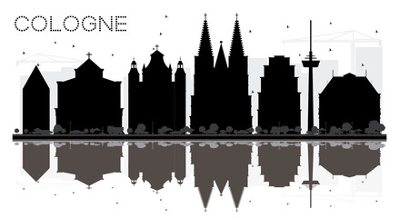 Cologne Germany City skyline black and white silhouette with Reflections.