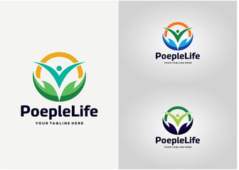 People Life Logo Template Design Vector, Emblem, Design Concept, Creative Symbol, Icon