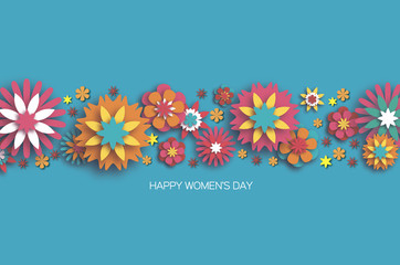 Colorful 8 March. Happy Women's Day. Trendy Mother's Day. Paper cut Floral Greeting card. Origami flower. Space for Text. Spring blossom on blue. Seasonal holiday. Modern paper horizontal decoration.