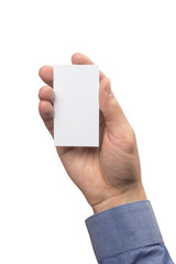 Mockup business card vertical  empty blank holds the man in his hand in shirt. Isolated on a white background
