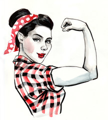 Strong pin up style woman flexing a biceps.