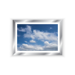 vector Chrome picture frame and blue sky image