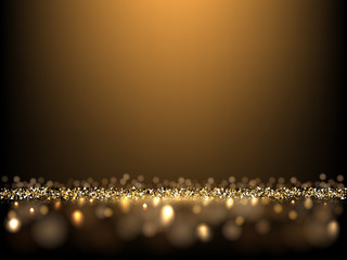 Golden glittering dark background. Vector luxury background for posters, banners or cards.