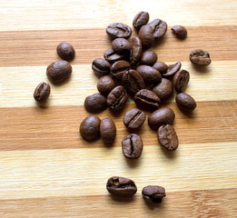 Coffee, coffee beans, scattered coffee beans