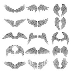 Tattoo design pictures of different stylized wings. Vector illustrations for logos design