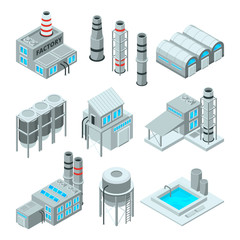 Set of industrial or factory buildings. Isometric 3d pictures