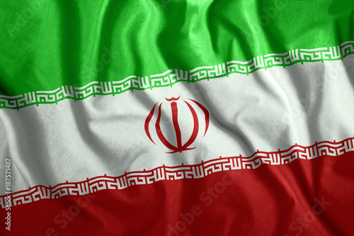 The Iranian Flag Is Flying In The Wind Colorful National Flag Of