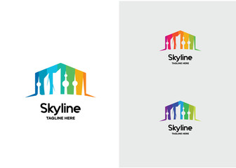Skyline Building Logo Template Design Vector, Emblem, Design Concept, Creative Symbol, Icon