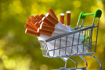 cigarettes in a shopping cart