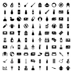 Plastic icons. set of 100 editable filled plastic icons